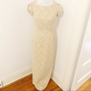Carmen Marc valvo champagne beaded lace gown 6